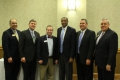 Sponsors for the 11th Annual Chamber Membership Meeting pose with keynote speaker Bernard Childress, TSSAA executive director. From left to right is Nelson Forrester, First Tennessee Bank; Jonathan West, Twin Lakes; Ben Prine, Chick-fil-a; Bernard Childress; Paul Korth, Cookeville Regional Medical Center; and Davis Watts, First Tennessee Bank.